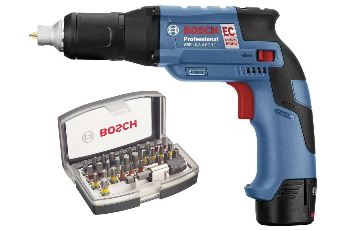 Набор Bosch Шуруповерт аккумуляторный gsr 10.8 v-ec te (0.601.9e4.000),Набор бит 2.607.017.319 электроинструмент bosch gsr 14 4 ve ec 4 0ah x2 l boxx 06019f1001