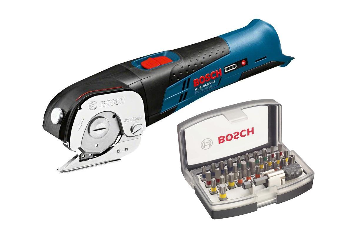 Набор Bosch Ножницы gus 10,8 v-li (0.601.9b2.901),Набор бит 2.607.017.319