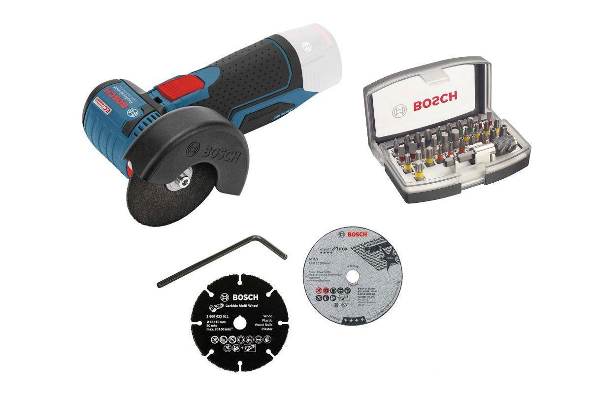 Набор Bosch УШМ (болгарка) gws 10.8-76 v-ec (0.601.9f2.000),Набор бит 2.607.017.319 болгарка bosch gws 10 8 76 v ec 0 601 9f2 002