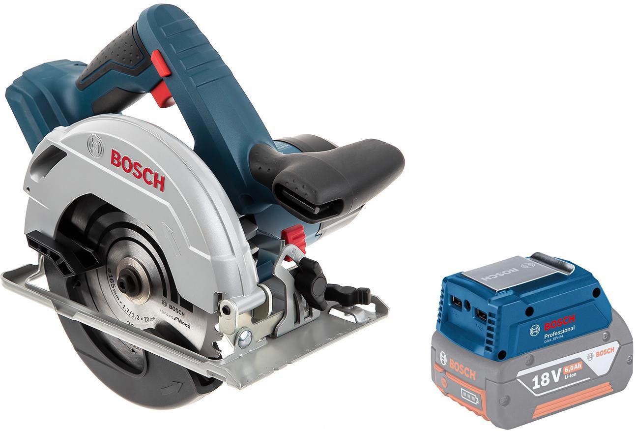 Набор Bosch Пила циркулярная gks 18v-57 (0.601.6a2.200),Адаптер gaa 18v-24 набор bosch дрель аккумуляторная gsr 18 2 li plus 0 601 9e6 120 адаптер gaa 18v 24