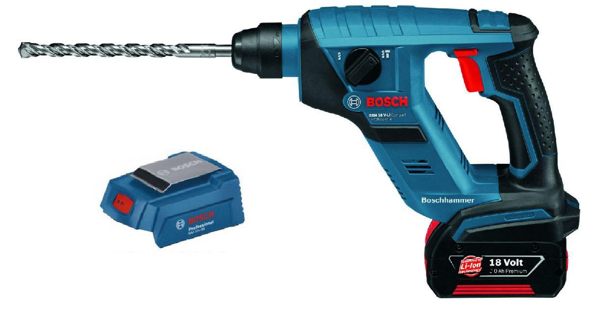 Набор Bosch Перфоратор 611905308 gbh 18 v-li compact (0.611.905.308),Адаптер gaa 18v-24 набор bosch ножовка gsa 18v 32 0 601 6a8 102 адаптер gaa 18v 24