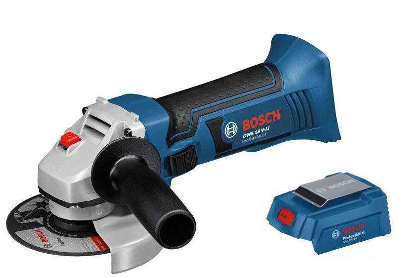 Набор Bosch УШМ (болгарка)  gws 18 v-li (0.601.93a.300),Адаптер gaa 18v-24 набор bosch ножовка gsa 18v 32 0 601 6a8 102 адаптер gaa 18v 24