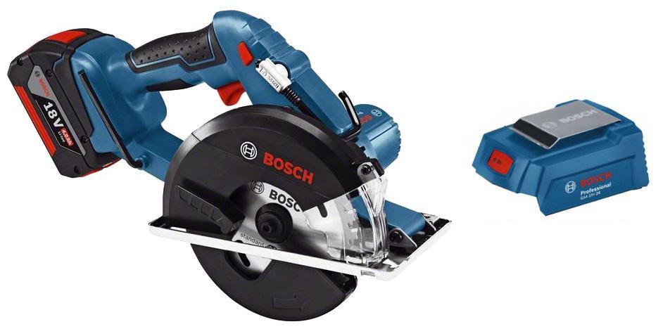 Набор Bosch Пила циркулярная gkm 18 v-li (0.601.6a4.000),Адаптер gaa 18v-24 набор bosch дрель аккумуляторная gsr 18 2 li plus 0 601 9e6 120 адаптер gaa 18v 24