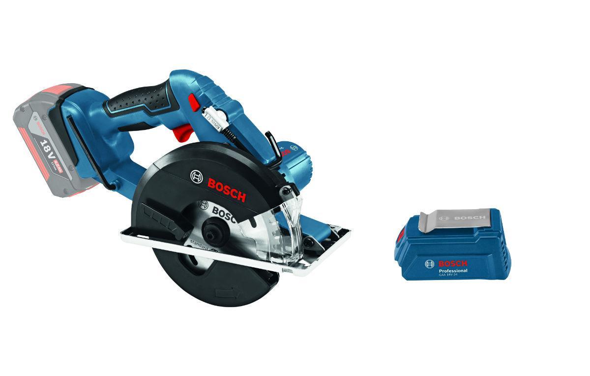 Набор Bosch Пила циркулярная gkm 18 v-li (0.601.6a4.001),Адаптер gaa 18v-24 набор bosch дрель аккумуляторная gsr 18 2 li plus 0 601 9e6 120 адаптер gaa 18v 24