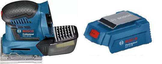 Набор Bosch Машинка шлифовальная плоская (вибрационная) gss 18v-10 соло (0.601.9d0.200),Адаптер gaa 18v-24 usb адаптер аккумулятора bosch gaa 18v 24 1600a00j61