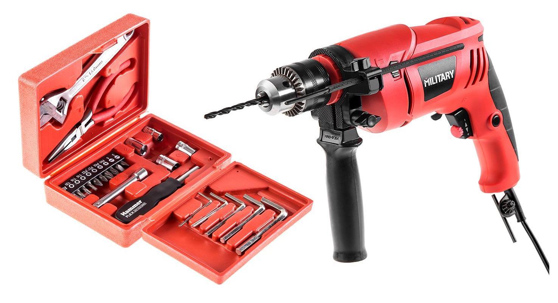 Набор Military Дрель ударная military hd600 + Набор инструментов hammer flex 601-041 дрель hammer flex drl400