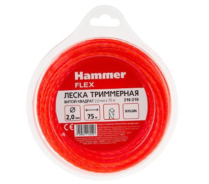 Леска для триммеров HAMMER витой квадрат 2.0мм X 75м
