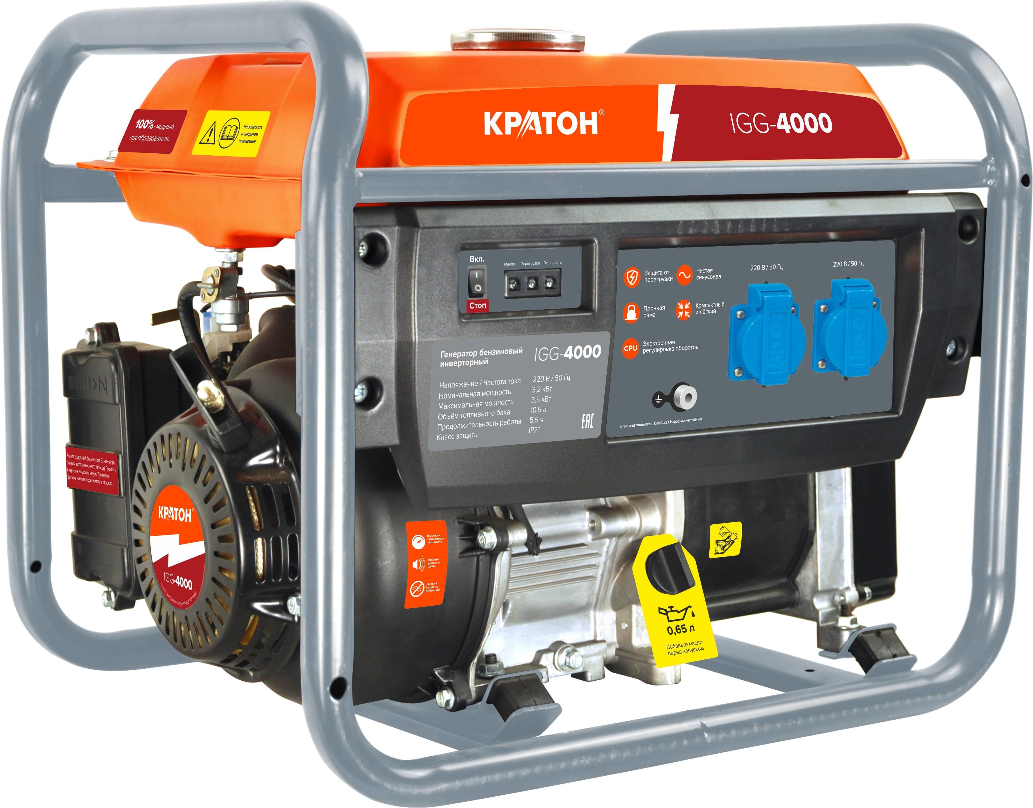 Бензиновый генератор КРАТОН Igg-4000 бензиновый генератор кратон gg 5500m