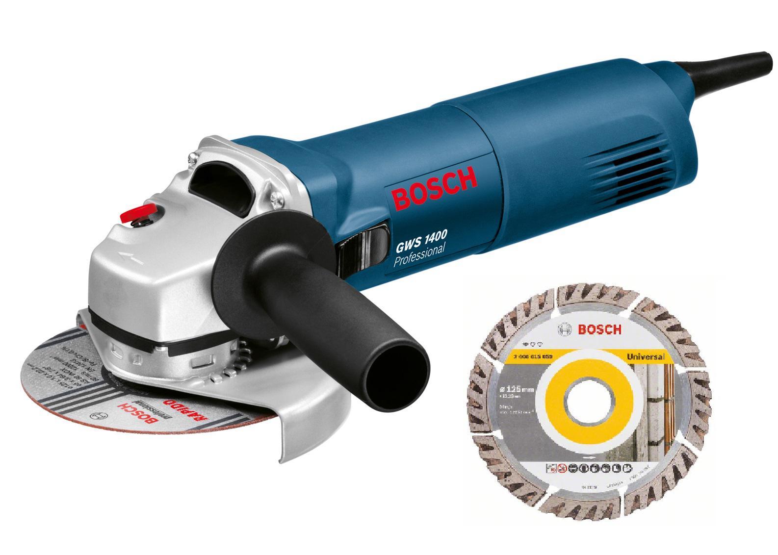 УШМ Bosch Gws 1400 + Диск алм.universal 125х22мм шлифовальная машина bosch gws 1400 professional