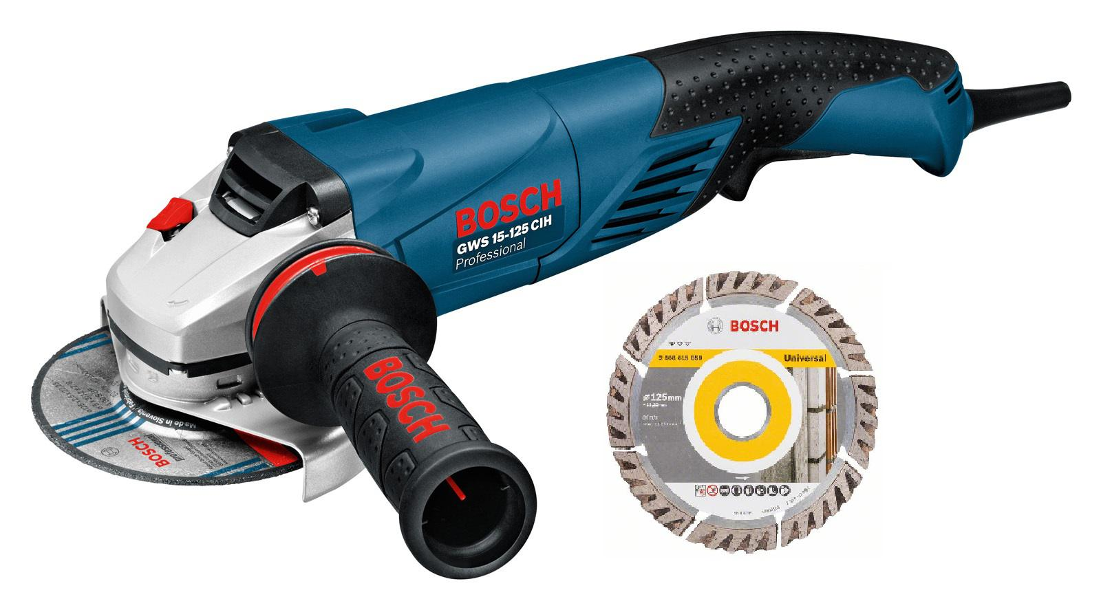 УШМ Bosch Gws 15-125 cih + Диск алм.universal 125х22мм угловая шлифовальная машина bosch gws 15 125 cih professional