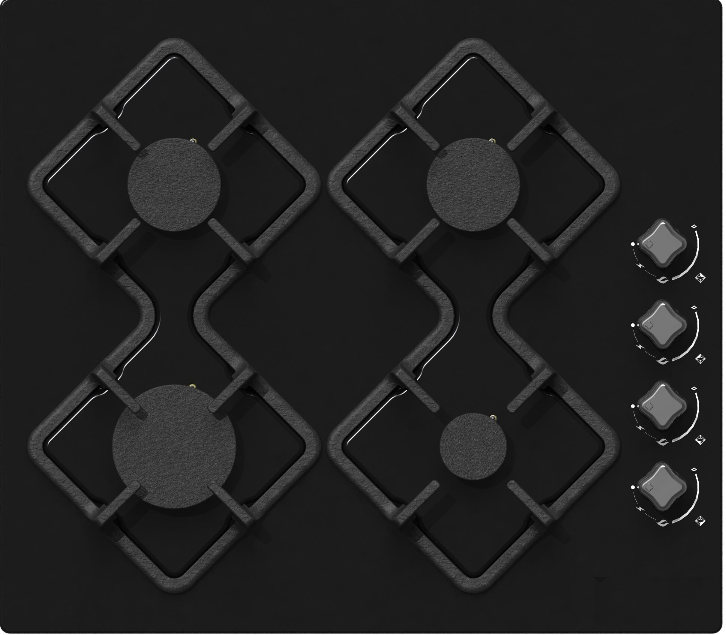 Встраиваемая газовая варочная панель Ricci Rgn-ka4007bl встраиваемая газовая варочная панель smeg srv 876 pogh