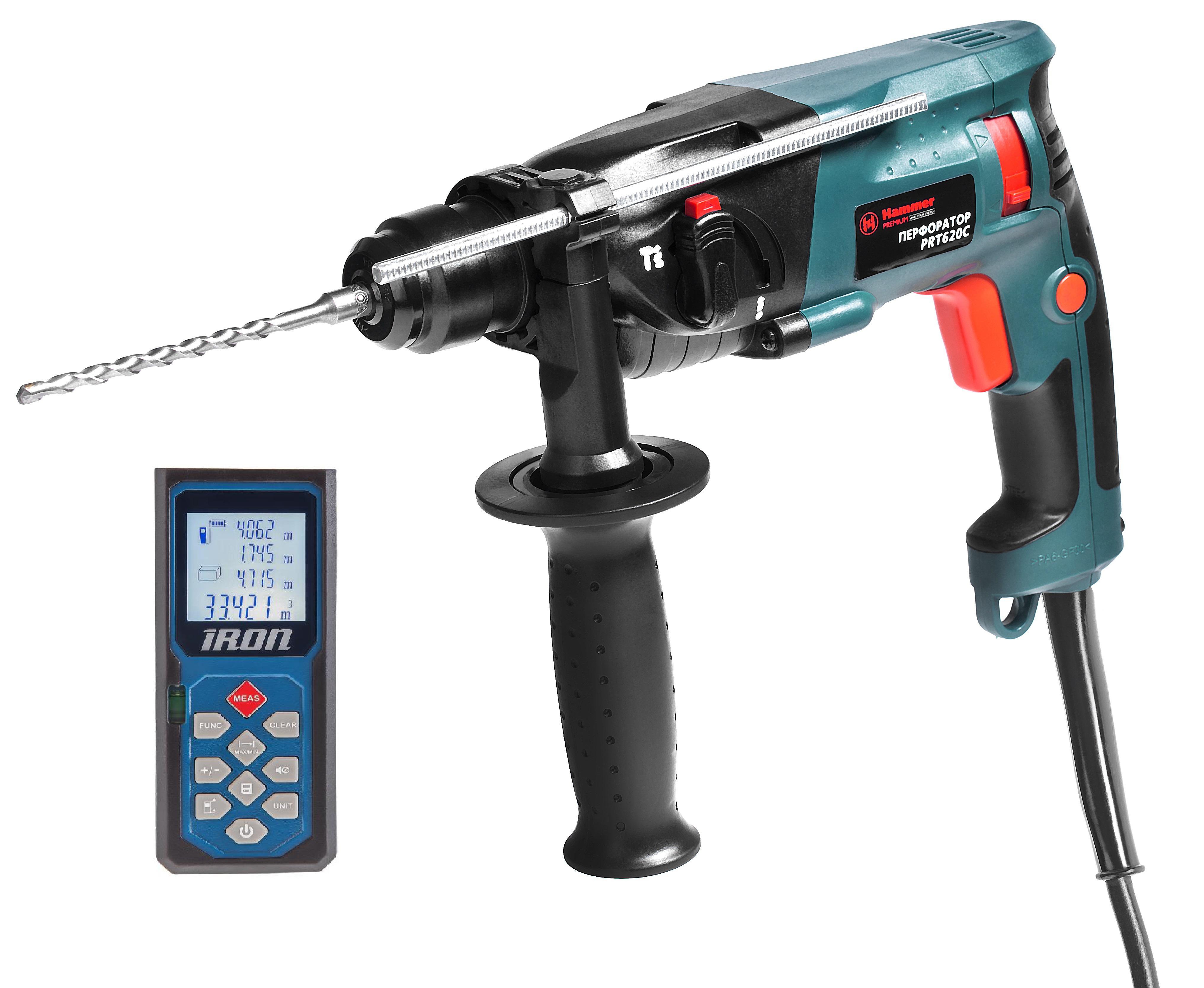 Набор Hammer перфоратор prt620c + дальномер iron la40 перфоратор hammer flex prt 620 le