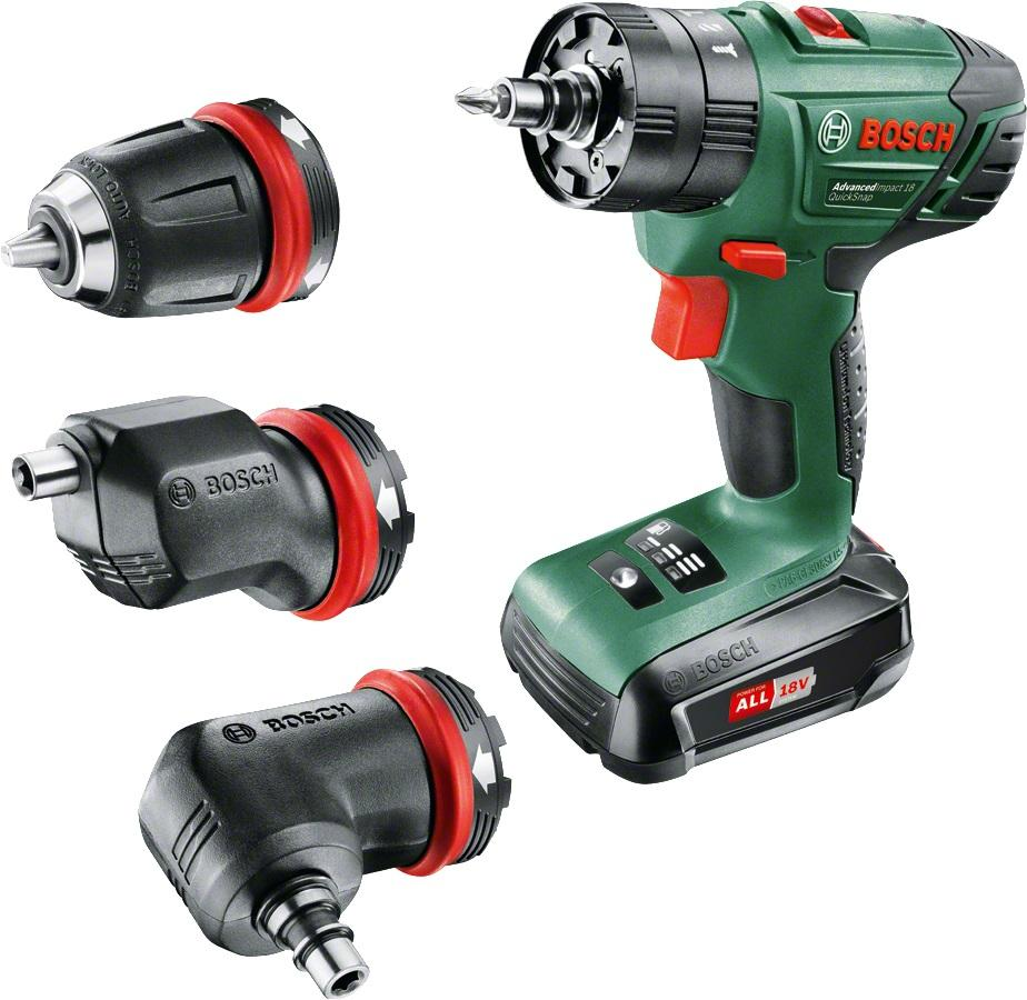 Дрель ударная Bosch 18v quick snap 1 bat (0.603.9a3.400) набор bosch рубанок gho 18 v li 0 601 5a0 300 адаптер gaa 18v 24