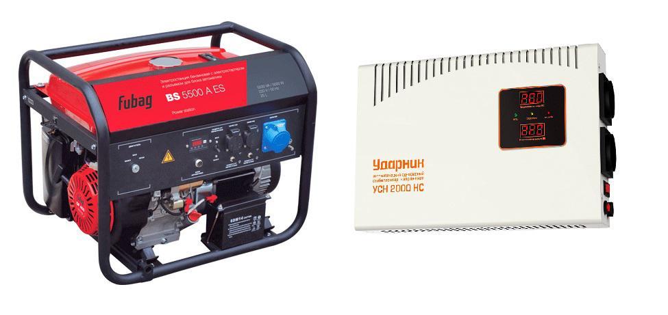 Набор Fubag Бензиновый генератор bs 5500 a es +Стабилизатор напряжения УСН 2000 НС бензиновый генератор fubag ti 1000