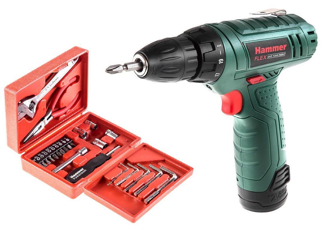 Набор Hammer Дрель аккумуляторная acd12le +Набор инструментов 601-041 23 предмета