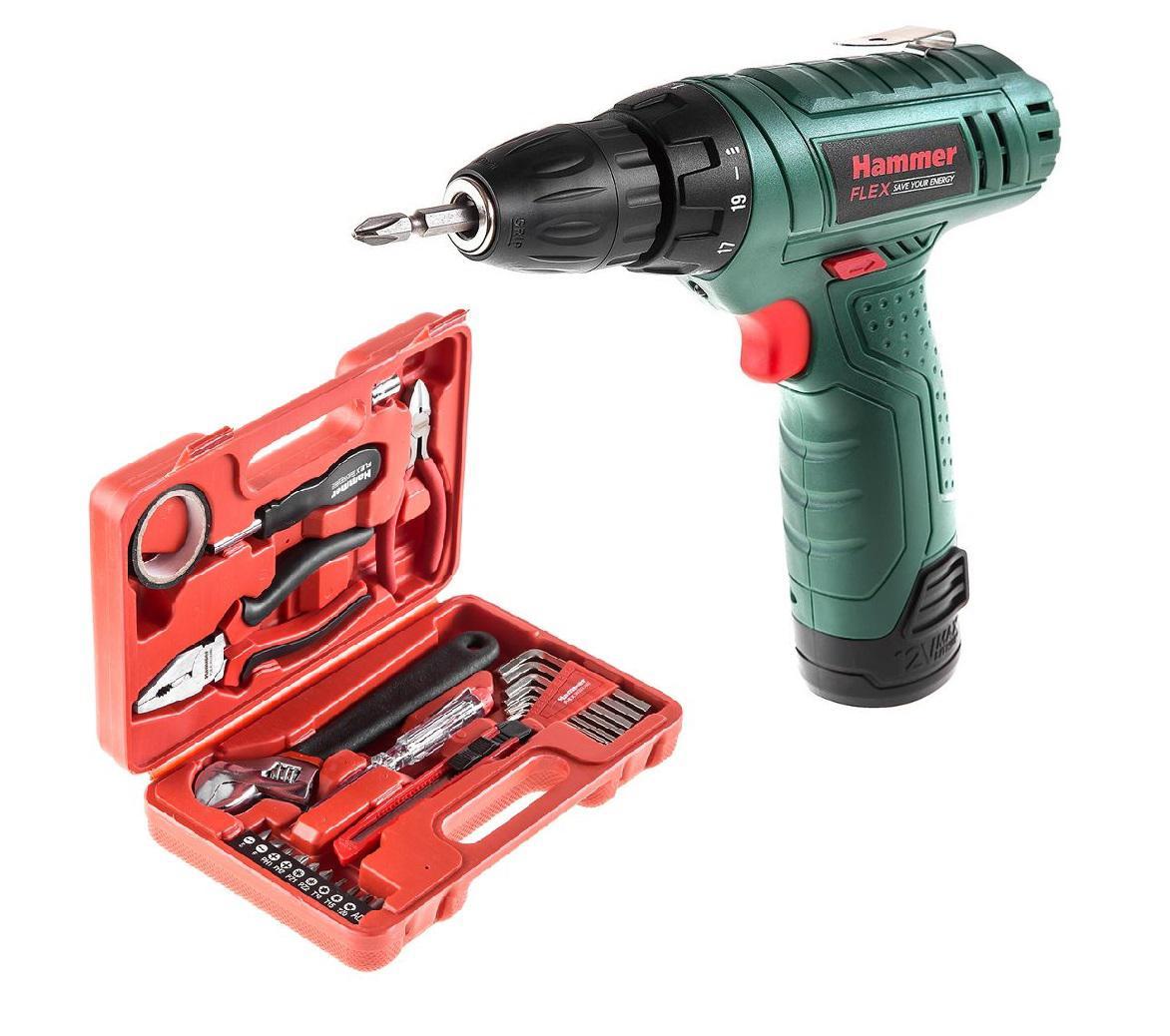 Набор Hammer Дрель аккумуляторная acd12le +Набор инструментов 601-040 25 предметов