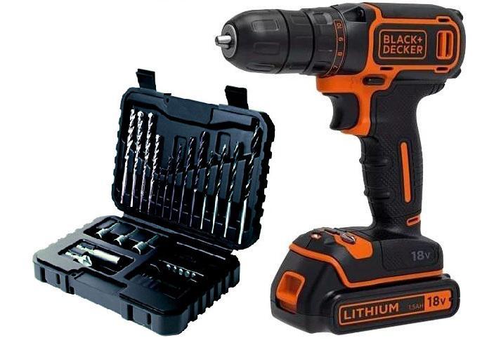 Набор Black & decker Дрель аккумуляторная bdcdc18kb-qw +Набор бит и сверл a7216-xj набор бит stanley 7122 xj