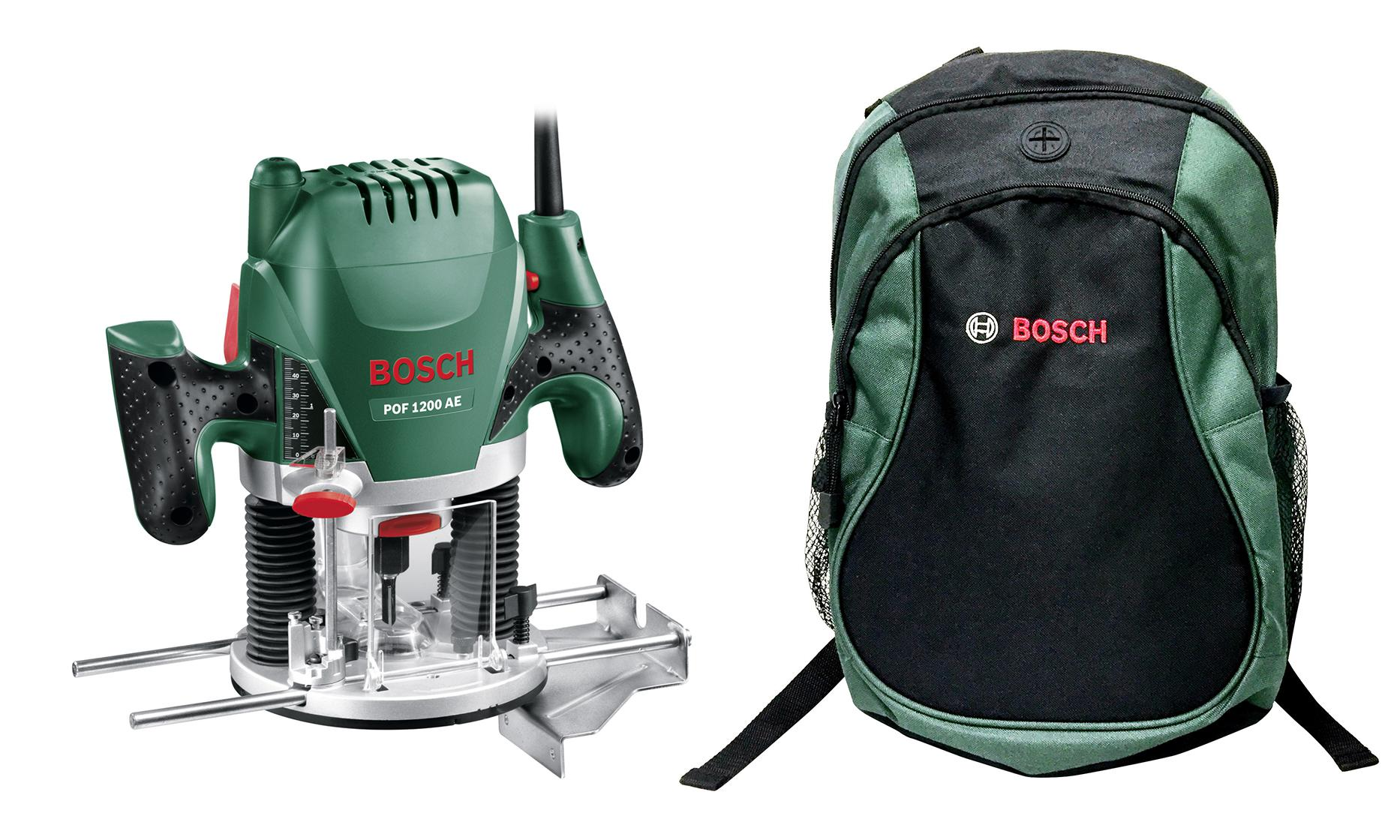Набор Bosch Фрезер pof 1200 ae (0.603.26a.100) +Рюкзак green (1619g45200) фрезер bosch pof 1200 ae 060326a100