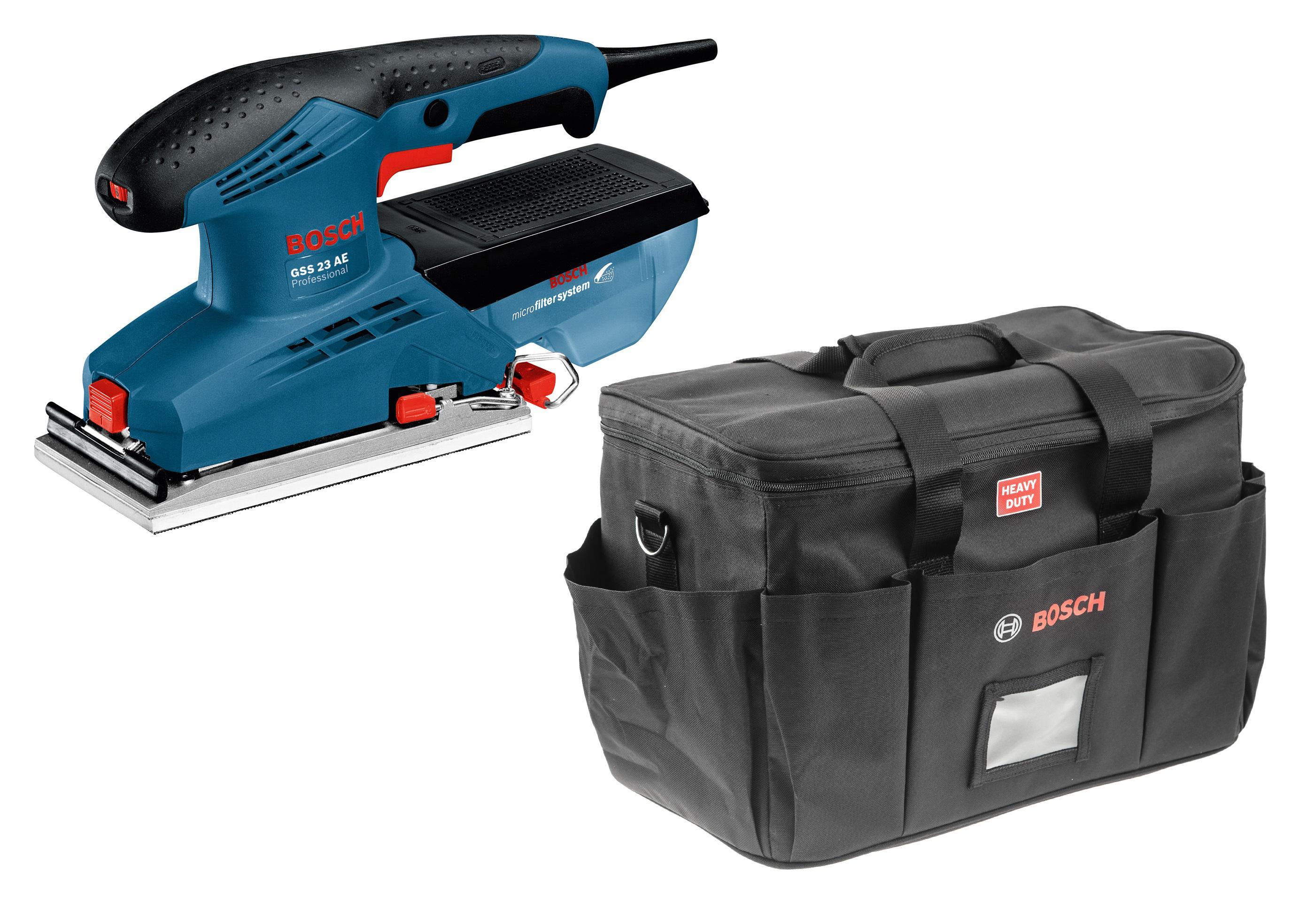 Набор Bosch Машинка шлифовальная плоская (вибрационная) gss 23 ae (0.601.070.721) + Сумка
