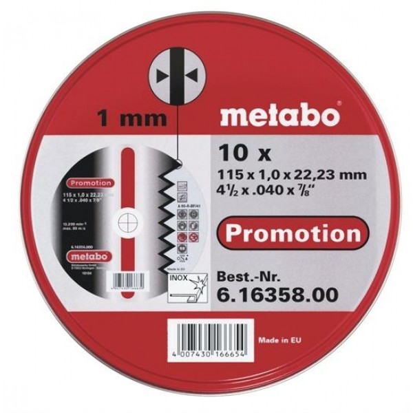Круг отрезной Metabo 115 Х 1 Х 22мм 10шт. в мет.коробке (616358000) круг отрезной hitachi а24 115 х 1 2 х 22 по металлу 50шт