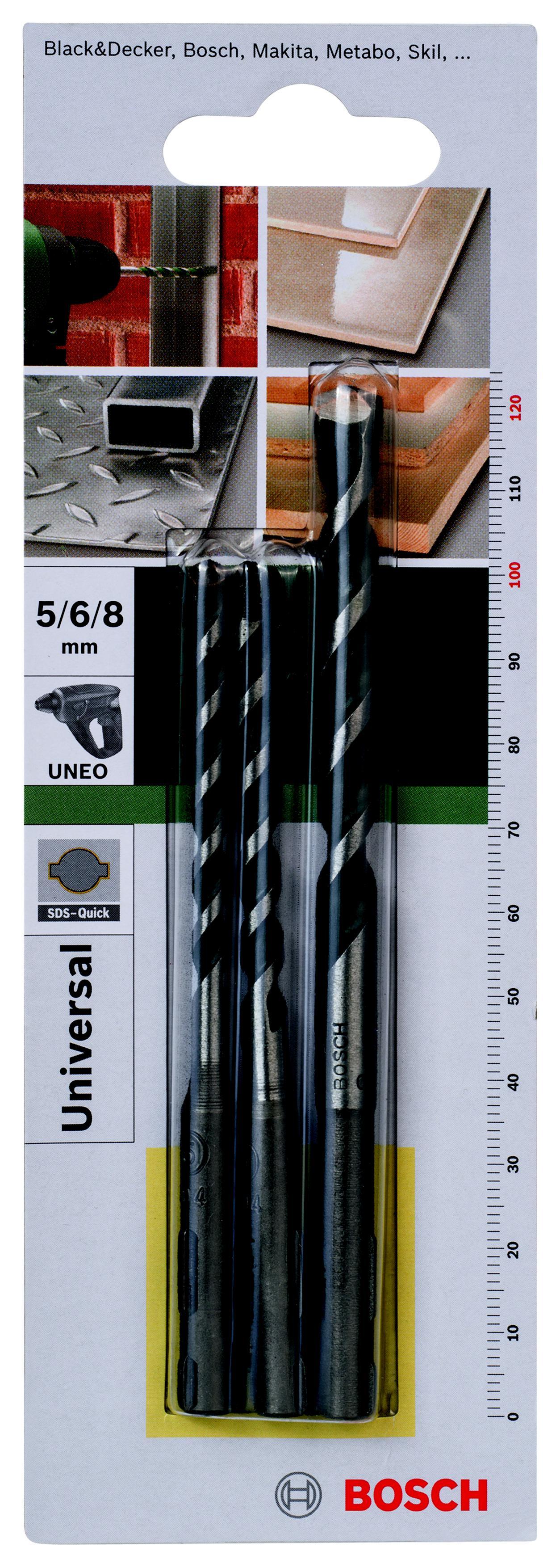 Набор сверл Bosch 2 609 256 918 универсальный, для uneo набор сверел универсальных sds quick bosch 5 0 8 0мм 3шт 2 609 256 918