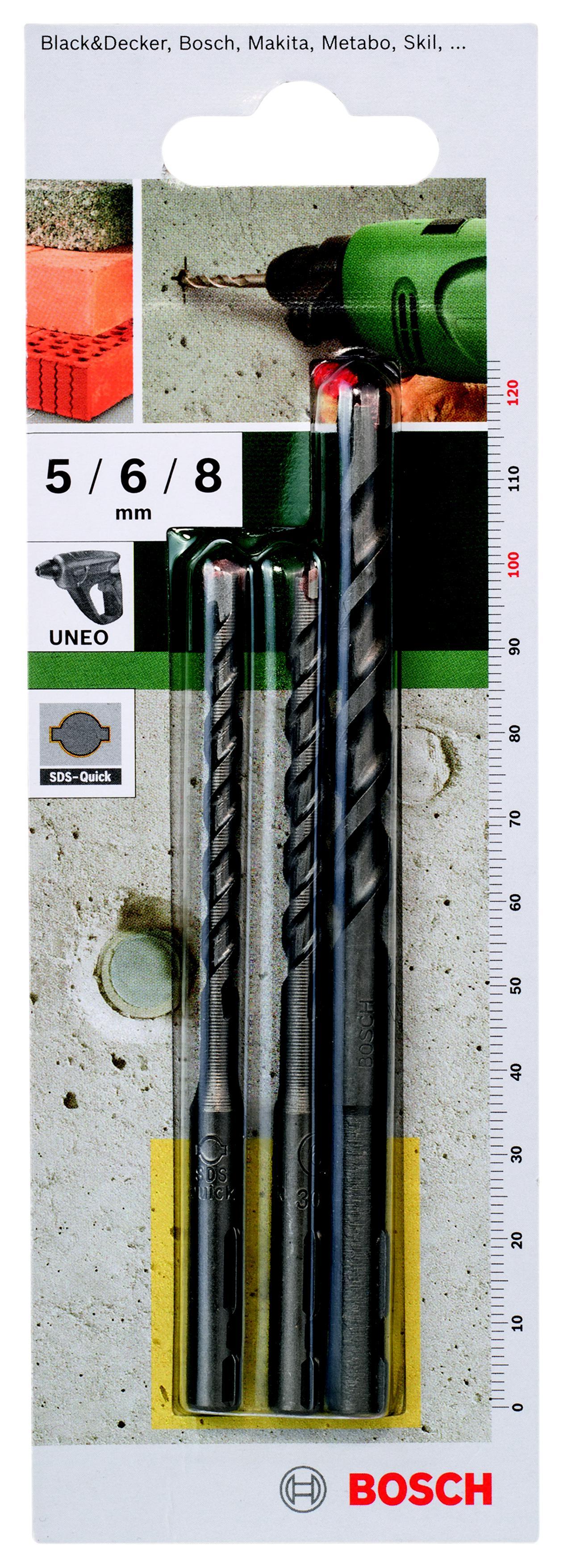 Набор сверл Bosch 2 609 256 908 по бетону, для uneo набор сверел универсальных sds quick bosch 5 0 8 0мм 3шт 2 609 256 918