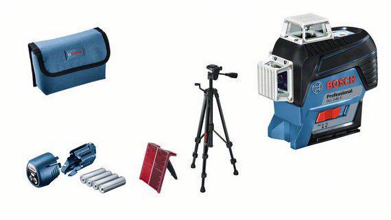 Набор Bosch Уровень gll 3-80c+bt 150+вкладк (0.601.063.r01) +Штатив bt 150 (0.601.096.b00) штанга телескопическая распорная bosch bt 350 0 601 015 b00