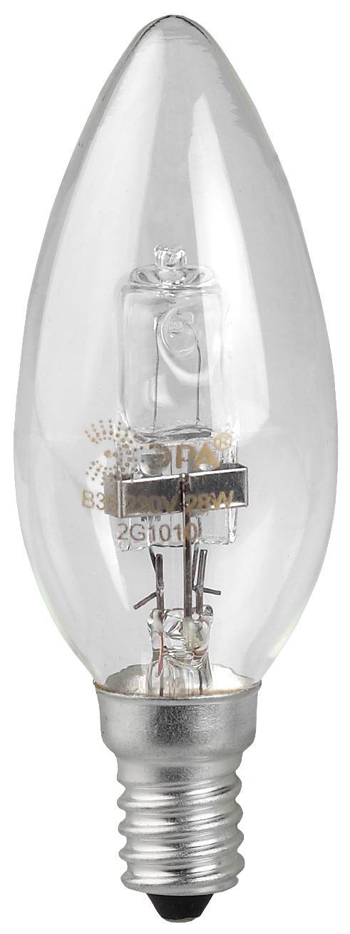 Лампа галогенная ЭРА Hal-b35-28w-230v-e14-cl