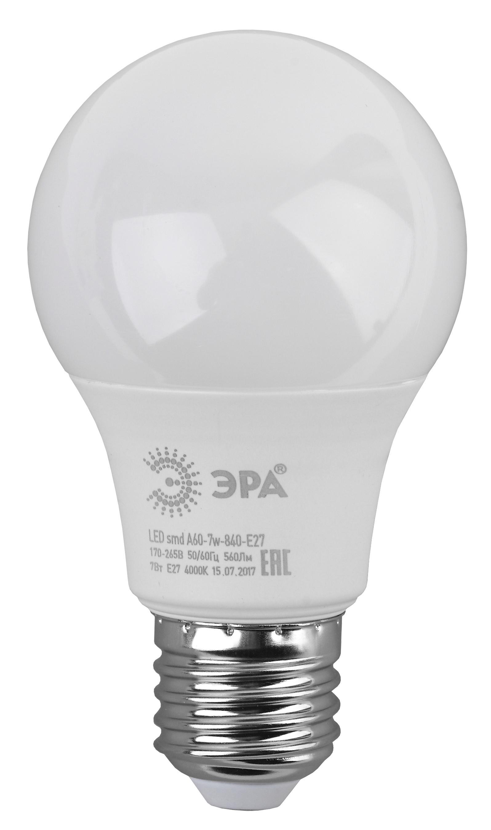 Лампа светодиодная ЭРА Led smd a60-7w-840-e27 лампа светодиодная эра led smd bxs 7w 840 e14 clear