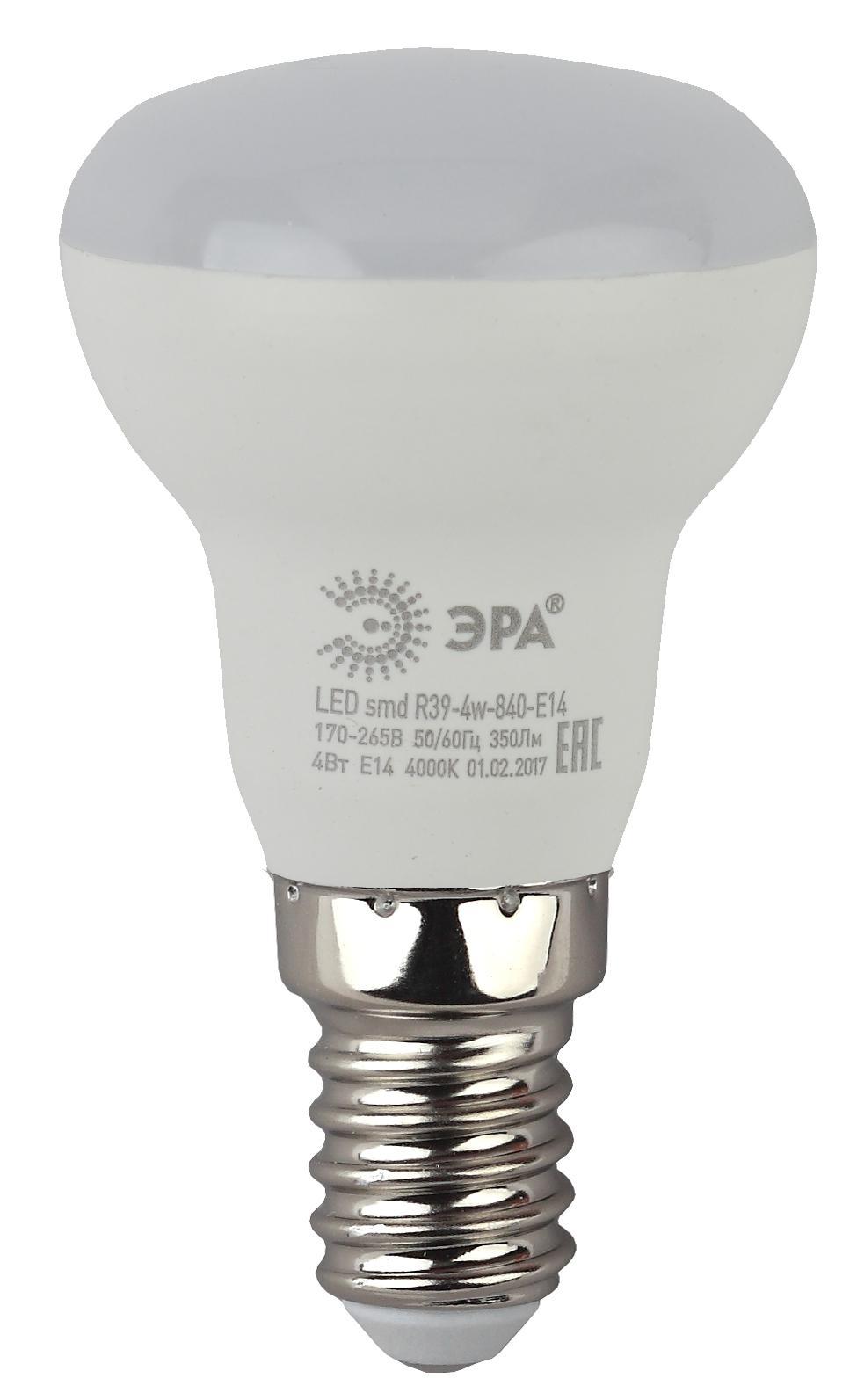 Лампа светодиодная ЭРА Led smd r39-4w-840-e14 лампа светодиодная эра led smd bxs 7w 840 e14 clear