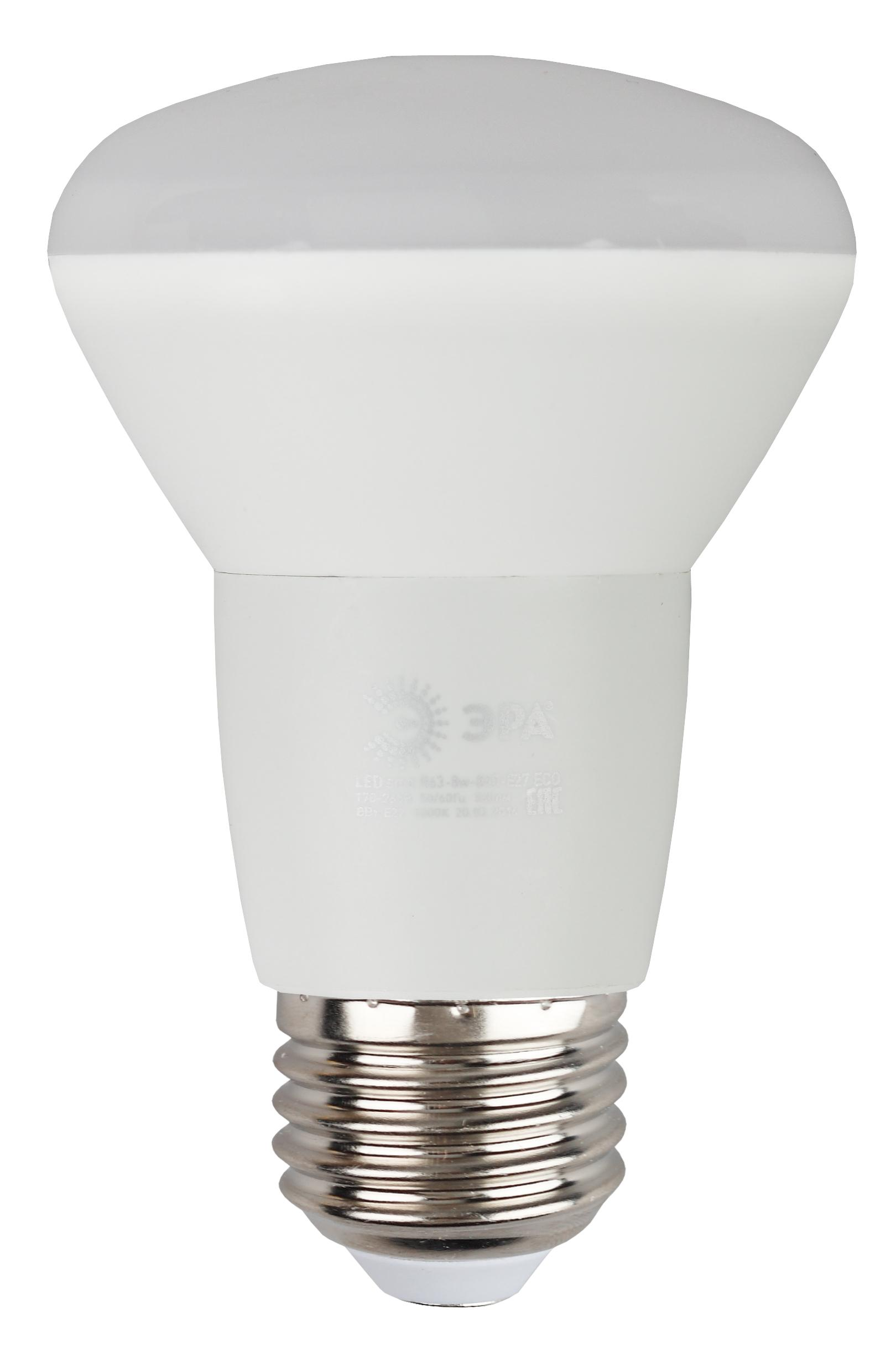 Лампа светодиодная ЭРА Led smd r63-8w-840-e27_eco лампа светодиодная эра led smd bxs 7w 840 e14 clear
