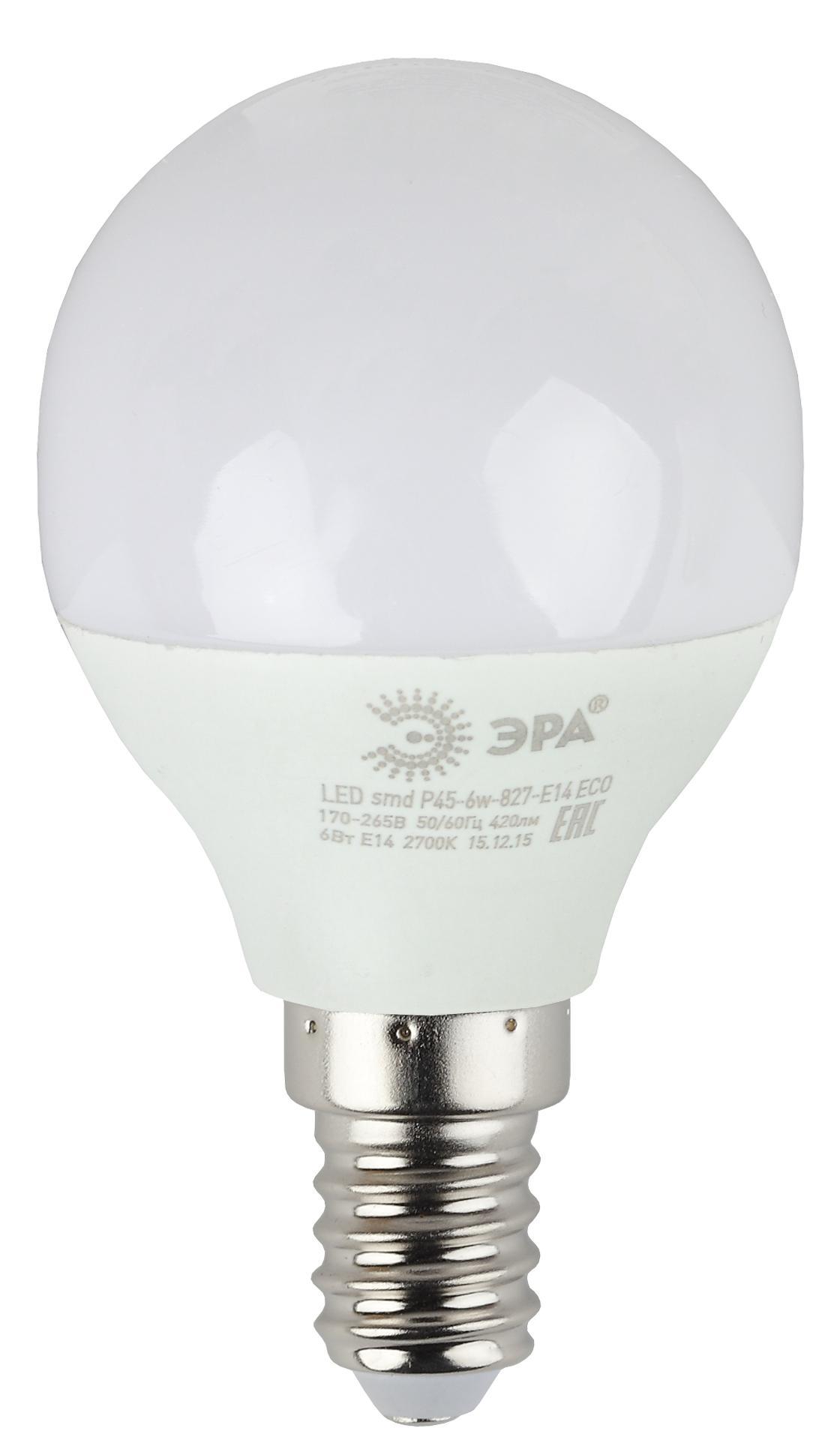 Лампа светодиодная ЭРА Led smd Р45-6w-827-e14_eco