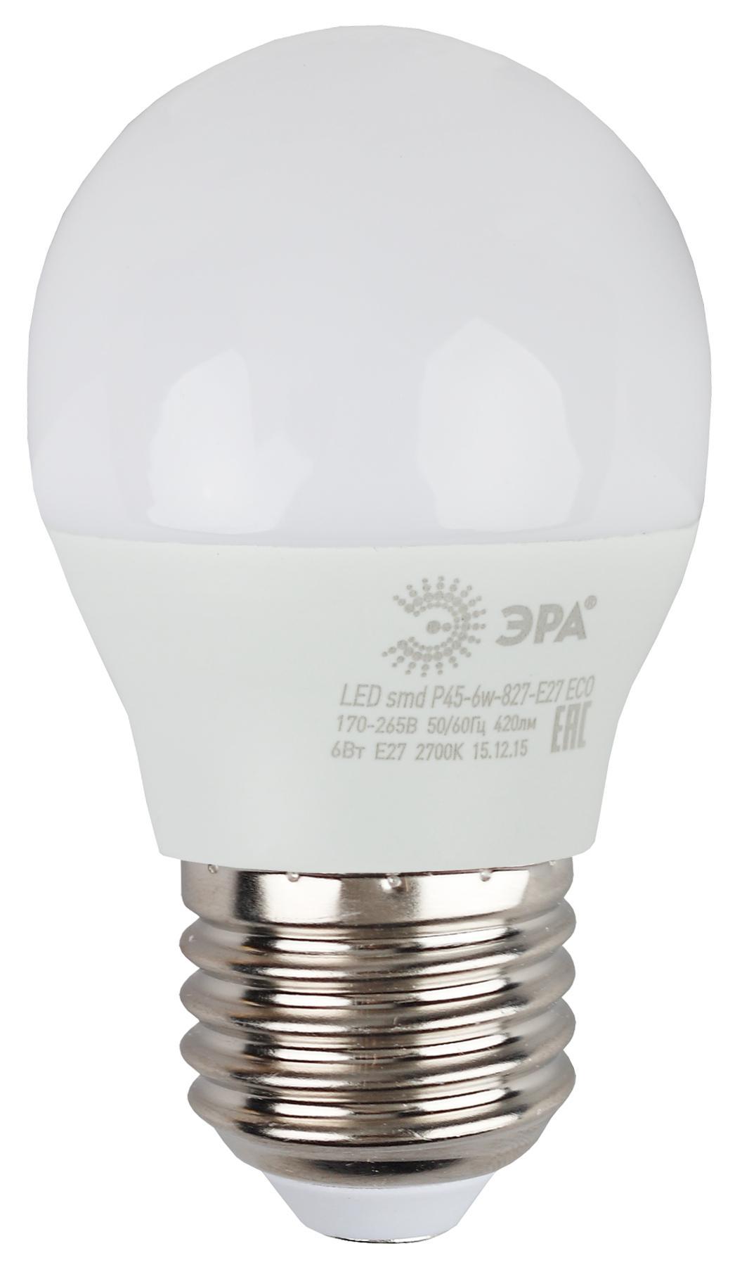 Лампа светодиодная ЭРА Led smd Р45-6w-827-e27_eco лампа светодиодная эра led smd jc 2w 827 g4