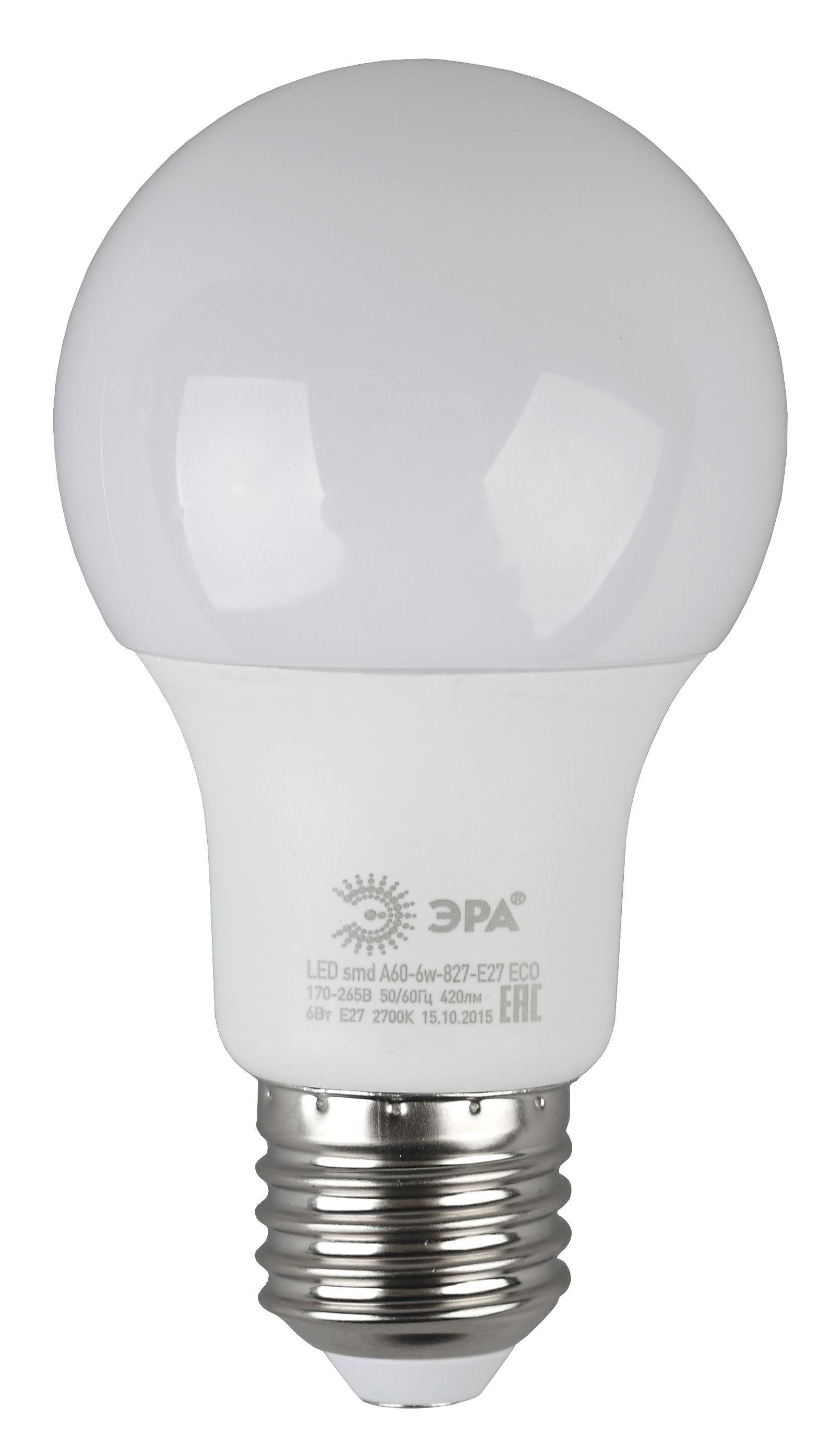 Лампа светодиодная ЭРА Led smd a60-6w-827-e27 eco