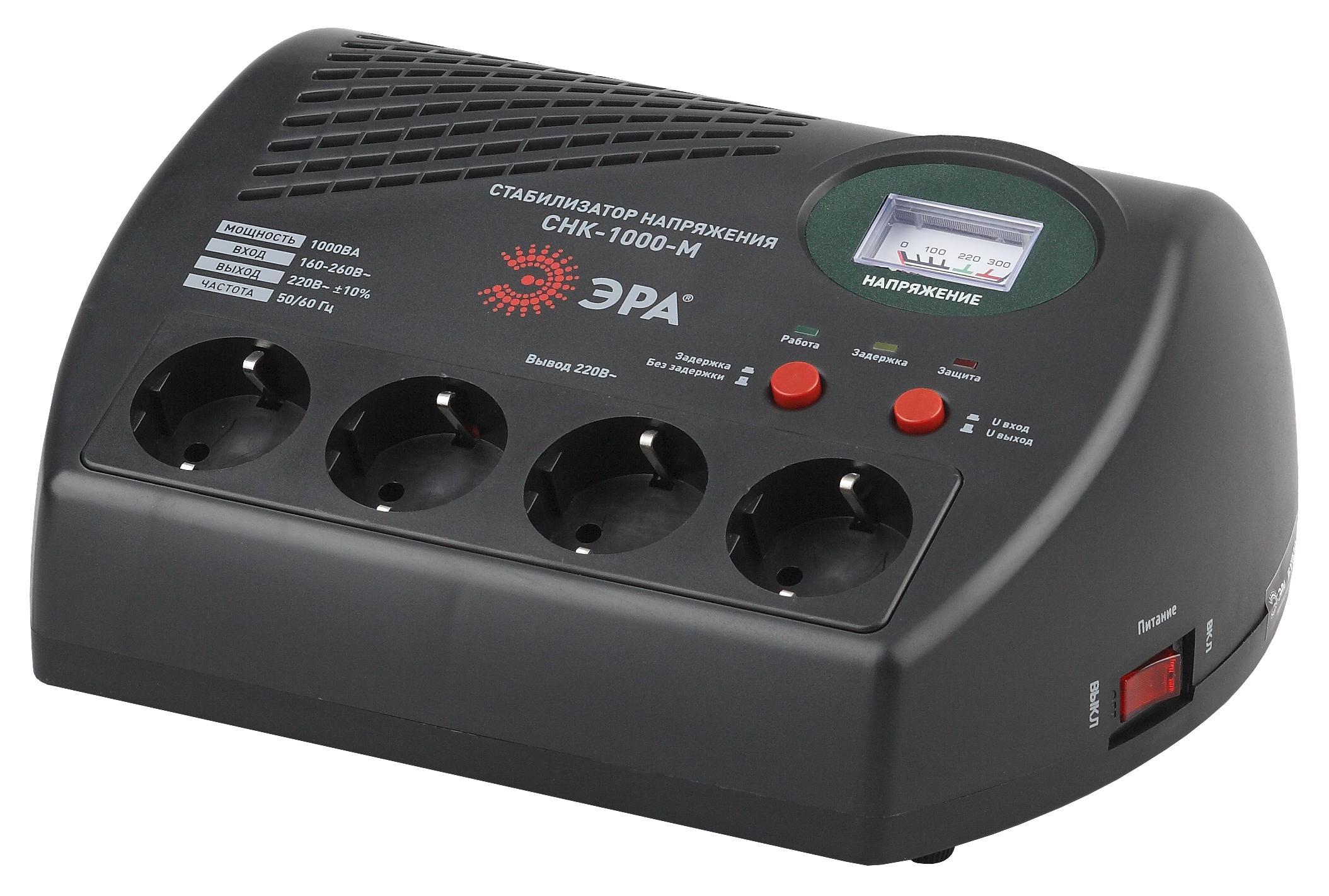 Стабилизатор напряжения ЭРА СНК-1000-М Б0031067 стабилизатор напряжения ippon avr 1000 4 розетки 1 м черный