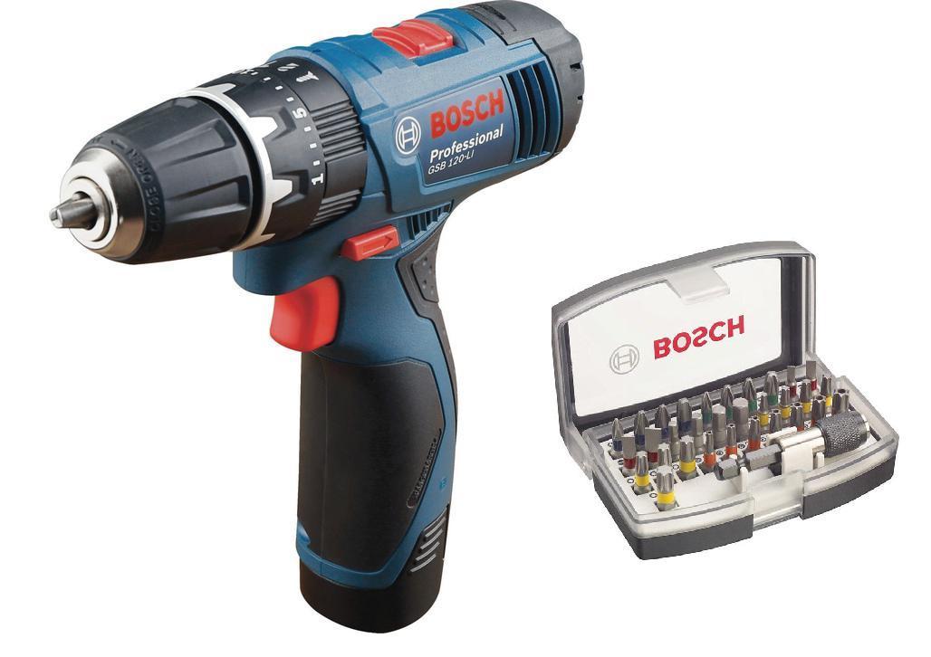 Дрель аккумуляторная Bosch Gsb 120li (0.601.9f3.006) + Набор бит
