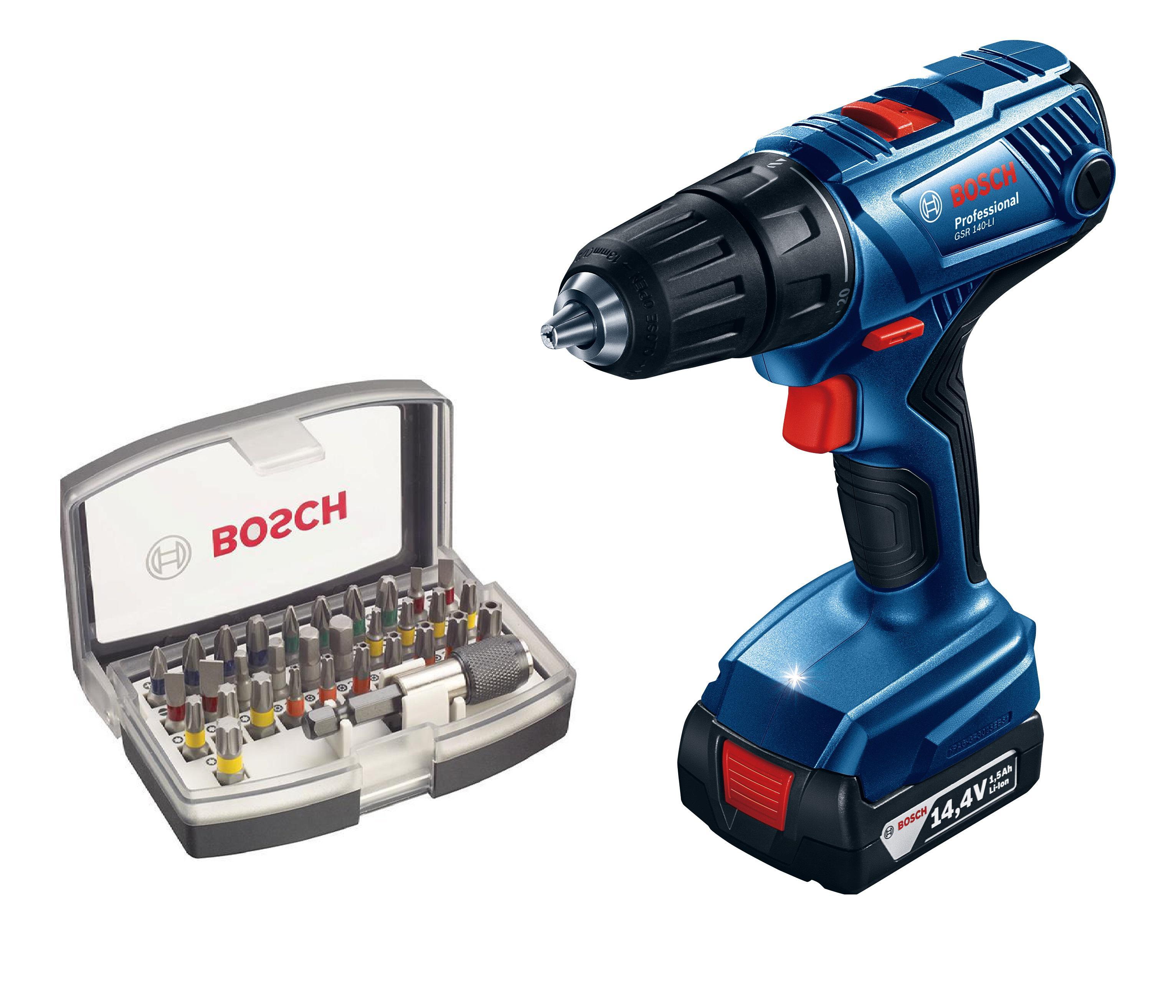 Дрель аккумуляторная Bosch Gsr 140-li (0.601.9f8.020) + Набор бит аккумуляторная дрель шуруповерт bosch gsr 12v 15 fc 2 0ah x2 l boxx 06019f6000