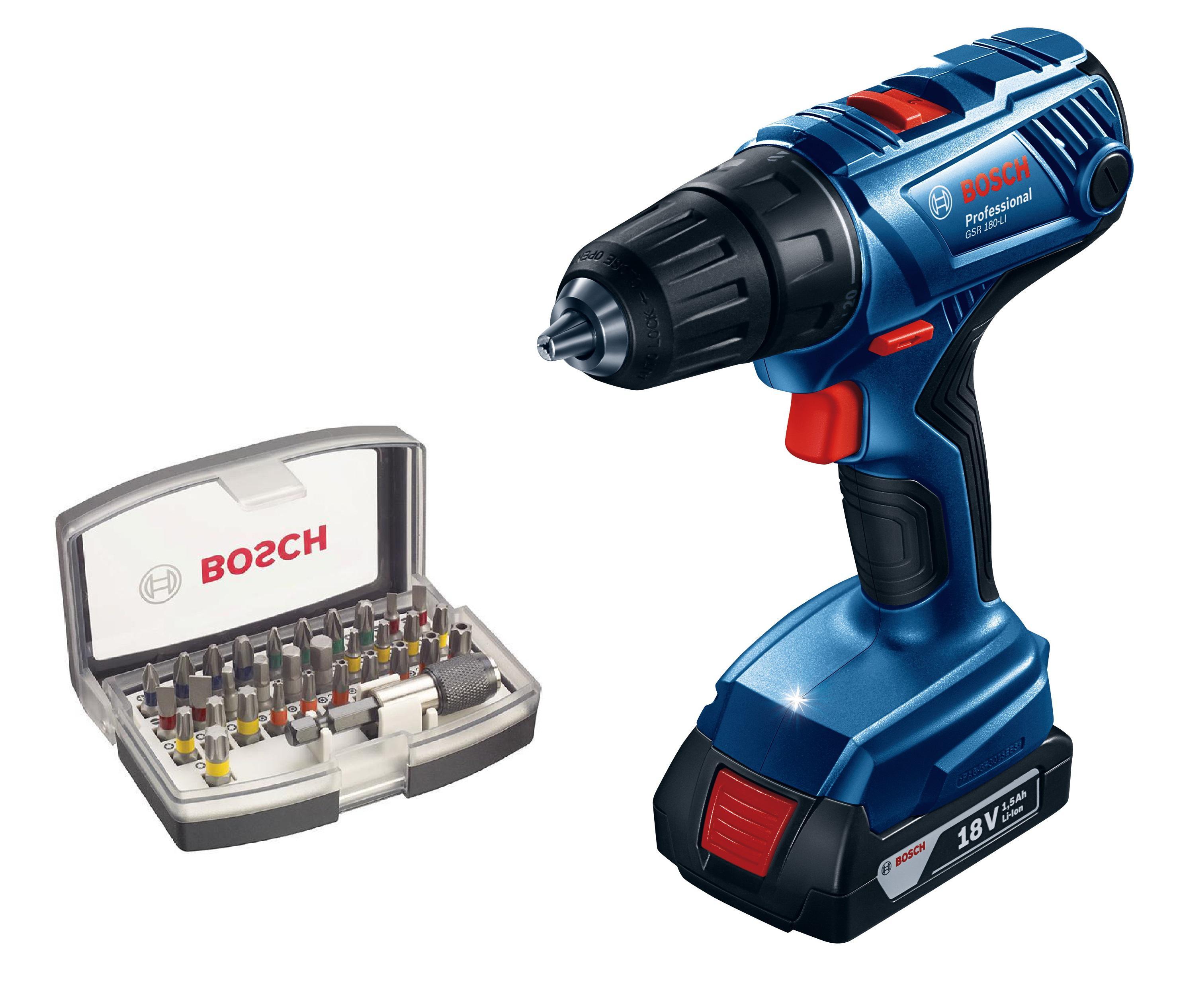 Дрель аккумуляторная Bosch Gsr 180-li (0.601.9f8.120) + Набор бит