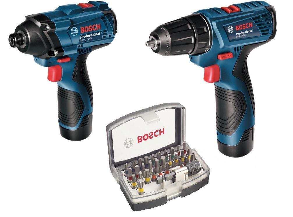 Набор Bosch гайковерт gdr120-li + дрель gsr 120-li (0.601.9f0.002) + Набор бит набор bosch дрель аккумуляторная gsb 18 v ec 0 601 9e9 100 адаптер gaa 18v 24