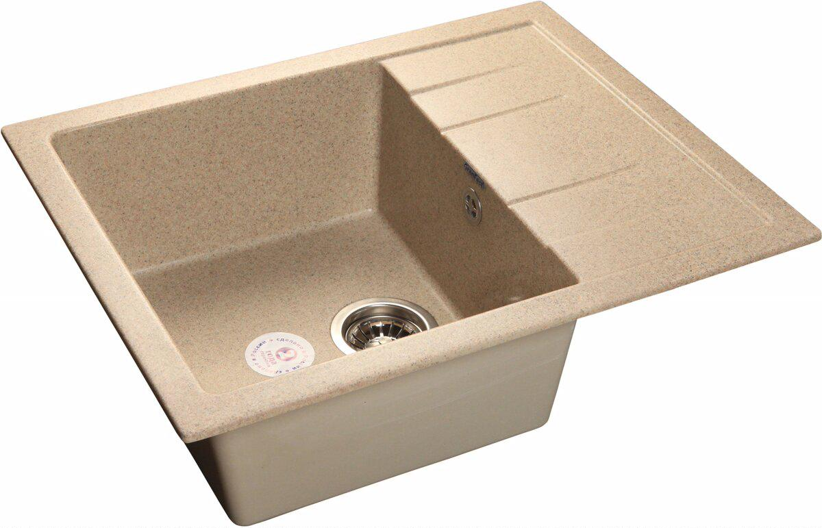 Мойка кухонная Granfest Quadro gf-q--650l песок мойка кухонная granfest гранит 650x500 чаша крыло gf r650l песок