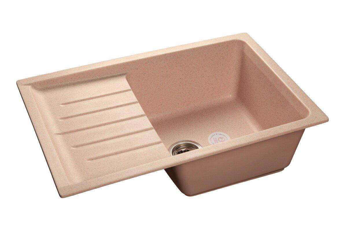 Мойка кухонная Granfest Practik gf-p--760l песок мойка кухонная granfest гранит 650x500 чаша крыло gf r650l песок