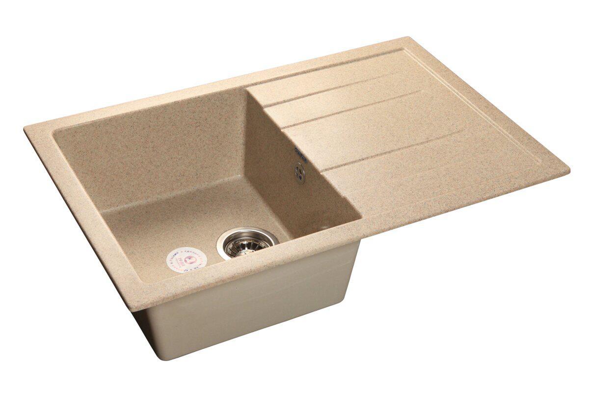 Мойка кухонная Granfest Quadro gf-q--780l песок мойка кухонная granfest гранит 650x500 чаша крыло gf r650l песок