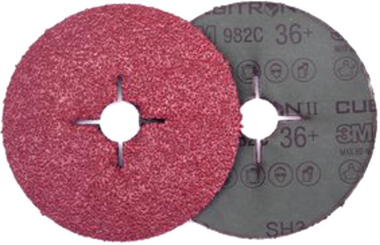 Круг фибровый 3М Cubitron ii 982С (7000028191) 125 мм х 22 мм, 36+, 3 шт. круг лепестковый торцевой 3м 967a 65055 125х22мм 60 cubitron – ii конически