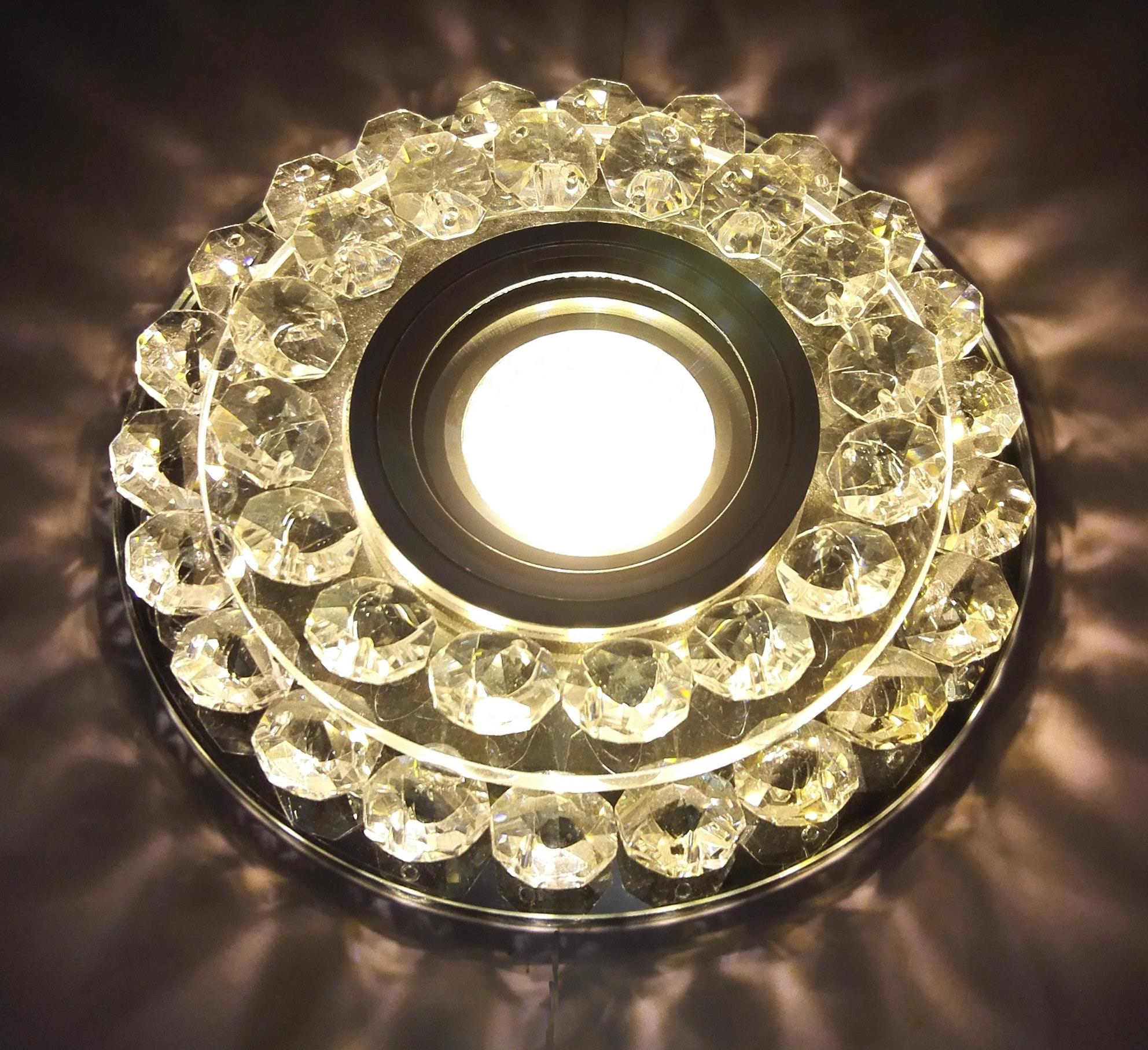 Светильник De fran Ft 950 chbk с торцевой подсветкой 15smd 3Вт 330лм хром+черное зеркало+кристаллы светильник de fran ft 861 ch