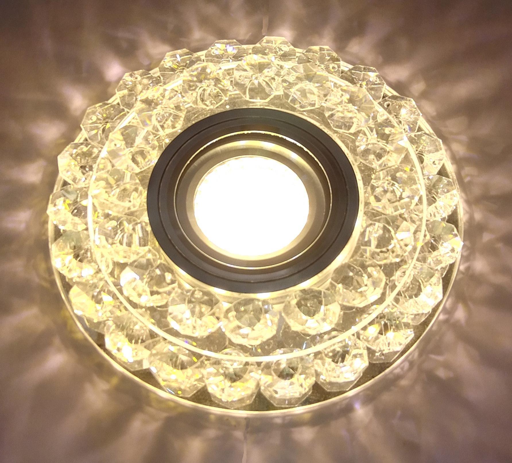 Светильник De fran Ft 950 chwh с торцевой подсветкой 3Вт 330лм хром зеркальный прозрачный+кристаллы