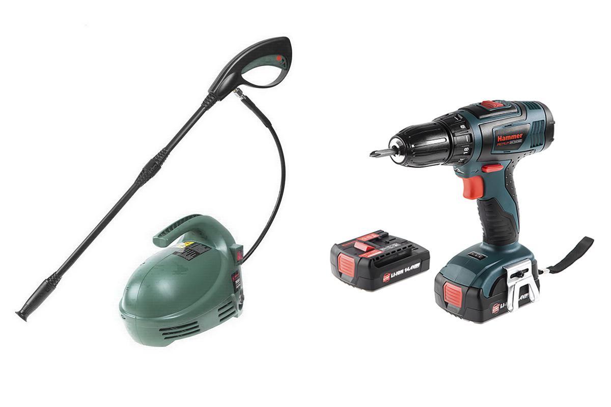 Набор Hammer Мойка высокого давления mvd1300a +Дрель аккумуляторная acd145li 2.0 premium hammer mvd 1300 a
