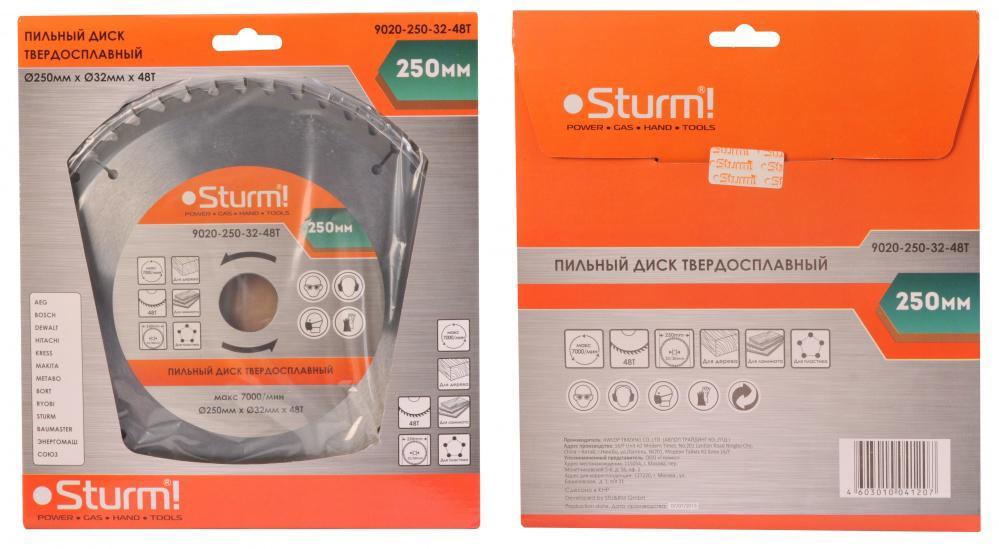 Фото - Диск пильный твердосплавный Sturm! 9020-250-32-48t диск пильный твердосплавный sturm 9020 125 22 48t
