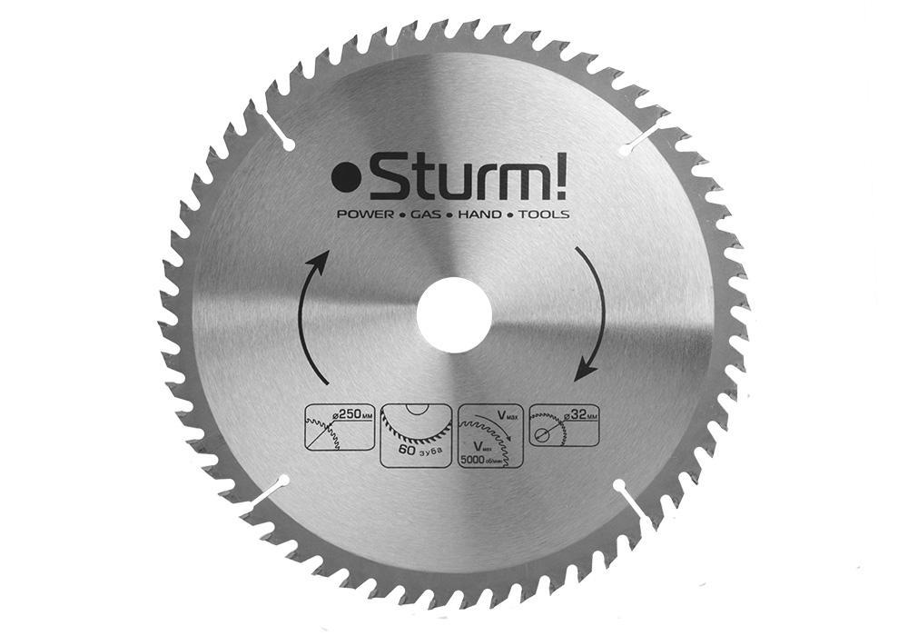 Диск пильный твердосплавный Sturm! Ф250х32мм 60зуб. (9020-250-32-60t)