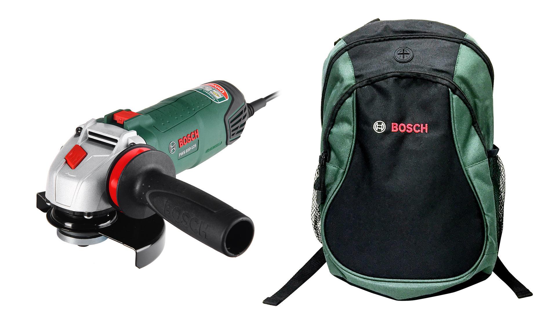 Набор Bosch УШМ (болгарка) pws 850-125 (0.603.3a2.720) +Рюкзак green (1619g45200) болгарка bosch pws 850 125
