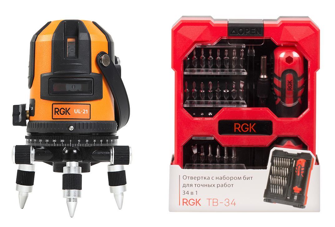 Набор Rgk Уровень ul-21 +Отвертка tb-34 (34 в 1) набор rgk уровень lp 64 отвертка tb 34 34 в 1